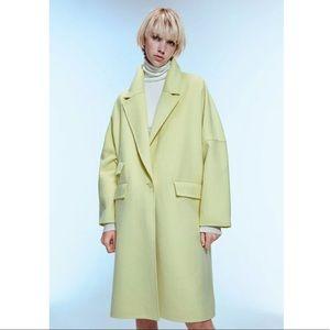 Zara Will Blend Neon Green Collar Oversized Coat M